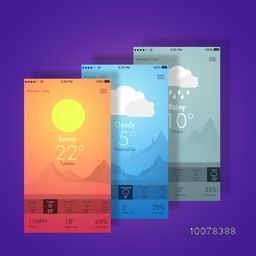 Creative Web User Interface screens with Weather features for Mobile.
