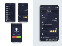 Mobile Chat User Interface screens with smartphone presentation.