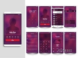 Different Web or Mobile User Interface screens with smartphone presentation.