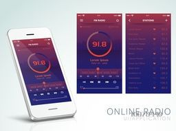 Creative User Interface layout with Smartphone presentation for Online Radio Application.