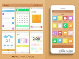 Creative Mobile Application Interface kit with smartphone presentation.