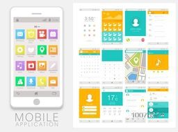 Creative Mobile Application User Interface layout with smartphone and different screens presentation.