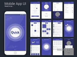 File Transfer and Sharing Mobile Apps Material Design UI, UX, GUI screens and flat web icons for responsive website with Create Profile, Send and Receive Option, Setting, Selection Screens, Received Files and Exit Features.