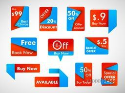 Business promotional badges, stickers, labels or tags with discount offer. EPS 10.
