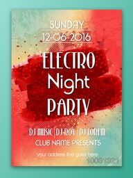 Electro Night Party Template, Dance Party Flyer, Musical Party Banner or Club Invitation design with date and time details.