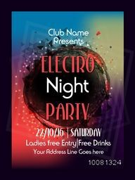 Colourful Template, Electro Night Party Flyer, Musical Party Banner or Club Invitation design with date and time details.