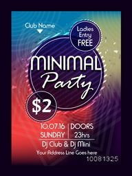 Minimal Musical Party Template, Dance Party Flyer, Night Party Banner or Club Invitation with date and time details. Colorful vector illustration.