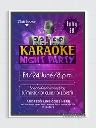 Karaoke Night Party Flyer, Template or Banner design with illustration of glossy woofers and microphone on shiny background.