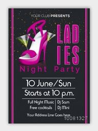 Ladies Night Party Template, Dance Party Flyer, Night Party Banner or Club Invitation design with date and time details.