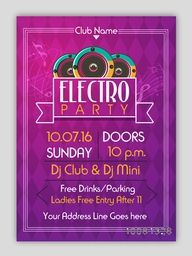 Electro Party Template, Dance Party Flyer, Night Party Banner or Club Invitation design with Party details.