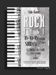 Rock Fest, Musical Party Template, Dance Party Flyer, Night Party Banner or Club Invitation with illustration of piano keys.