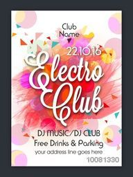 Colorful abstract design decorated, Electro Club Party Template, Dance Party Flyer or Night Party Banner design.