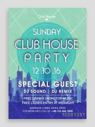 Club House Party Template, Dance Party Flyer, Night Party Banner design. Creative vector illustration with view of urban city.