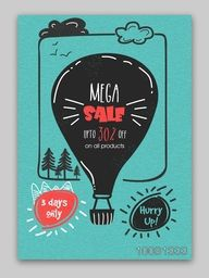 Mega Sale Flyer, Sale Banner, Sale Poster, Discount upto 30%, Limited Time Sale. Vector illustration with creative hot air balloon.