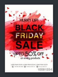 Black Friday Sale Flyer, Sale Banner, Sale Poster, Upto 50% Off on Every Product. Vector illustration with abstract design.