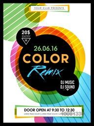 Colorful abstract design decorated, Flyer, Template or Banner design for Musical Party celebration.