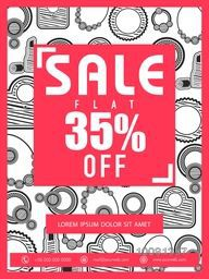 Sale Flyer, Sale Banner, Sale Poster, Flat 35% Discount Offer, Vector illustration with creative background.
