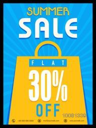 Summer Sale Flyer, Sale Banner, Sale Poster, Flat 30% Discount Offer.Vector illustration with shopping bag on blue rays background.