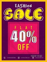 Fashion Sale Flyer, Sale Banner, Sale Poster, Flat 40% Off. Vector illustration.