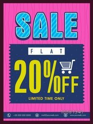 Limited Time, Sale Flyer, Sale Banner, Sale Poster, Flat 20% Off. Creative vector illustration.