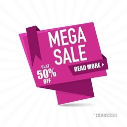 Mega Sale Paper Tag or Banner with Flat Discount Upto 50% Off on abstract rays background.