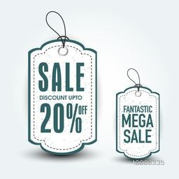 Fantastic Mega Sale Tags with Discount Upto 20% Off on white background.