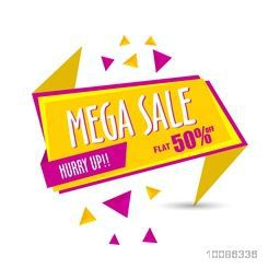 Pink and yellow, Mega Sale Paper Tag or Banner with Flat 50% Off - Hurry Up.