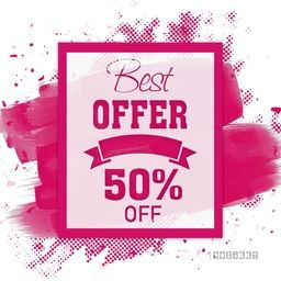Best Offer Sale Poster, Banner, Flyer, Discount Upto 50% Off, Vector illustration with abstract design.