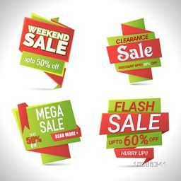 Set of Four, Creative Tags or Banners for Weekend, Clearance, Mega or Flash Sale, Vector illustration with Different Discount Offers.