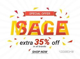 Mega Sale with Extra Discount Upto 35% Off, Creative Poster, Banner or Flyer design. Stylish Typography and ribbon.