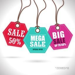 Colorful hanging, Sale Tags, Stickers or Labels with Special Offers. Vector illustration.