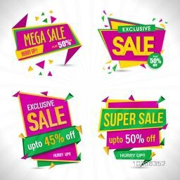 Set of creative Sale Paper Tags or Banners, Exclusive Discount Offers, Useable for Poster, Flyer, Pamphlet, Sticker, Label design.