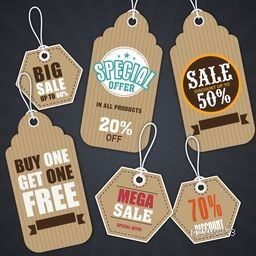 Collection of creative Sale Tags, Stickers or Labels, Different Discount Offers, Vector illustration in Vintage style.
