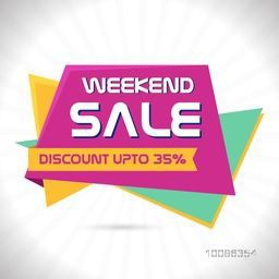 Weekend Sale Paper Tag or Banner with Discount Upto 35% Off, Can be used as Poster, Flyer, Pamphlet etc.