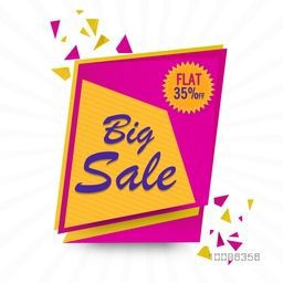 Big Sale Banner, Poster, Flyer or Pamphlet with Flat 35% Discount Offer. Vector illustration.