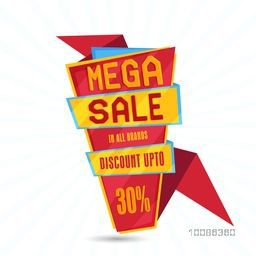 Mega Sale Paper Tag or Banner with Discount Upto 30% Off in All Brands, Vector illustration.
