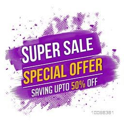 Special Offer, Super Sale Flyer, Banner, Poster, Pamphlet, Saving Upto 50% Off, Vector illustration with abstract paint stroke.