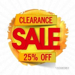 Clearance Sale Sticker, Label or Tag, Discount Upto 25% Off, Vector illustration with paint stroke, Useable for Poster, Banner, Flyer or Pamphlet.