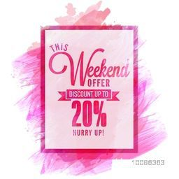 Weekend Offer Sale Flyer, Banner, Poster, Pamphlet, Discount Upto 20% Off, Vector illustration with abstract paint stroke.