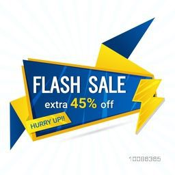 Flash Sale with Extra 45% Off, Creative Paper Tag or Banner on white background.