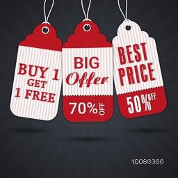 Stylish Sale Tags with Best Discount Offers, hanging on glossy, rays background. Vector illustration.