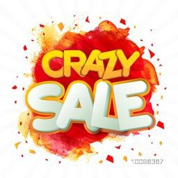 Crazy Sale Poster, Banner, Flyer or Pamphlet with abstract paint stroke. Vector illustration.