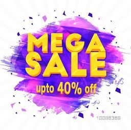 Mega Sale, Creative Flyer, Banner, Pamphlet or Poster, Discount Upto 40% Off, Vector illustration with abstract paint stroke.