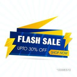 Flash Sale, Paper Tag or Banner with Discount Upto 30% Off, Vector illustration.