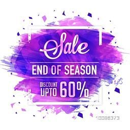 End of Season Sale Poster, Banner or Flyer with purple paint stroke, Flat Discount Upto 60% Off, Vector illustration.