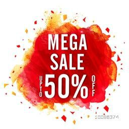 Mega Sale Poster, Banner or Flyer design, Flat Discount Upto 50% Off, Vector illustration with abstract paint stroke.