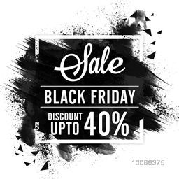 Black Friday Sale with Discount upto 40%, Creative abstract background with watercolor brush strokes, Vector illustration.