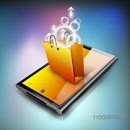 Shopping bag on a tablet. EPS 10.
