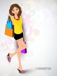 Stylish young girl carrying shopping bags on floral background. EPS 10.