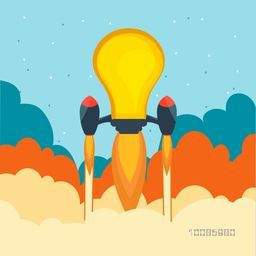 Creative light bulb rocket flying above sky, Vector illustration for starting new project, business start up and idea concept.